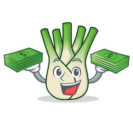 With money fennel mascot cartoon style