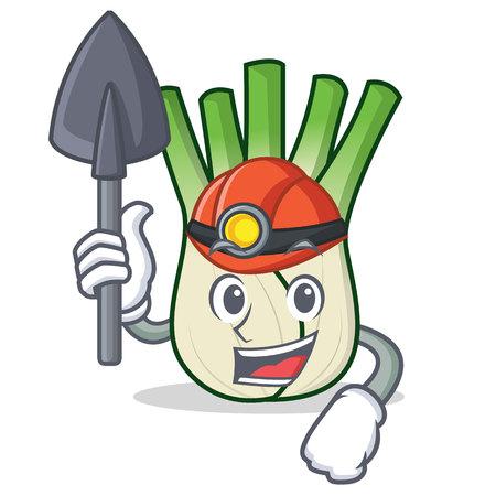 Miner fennel mascot cartoon style Illustration