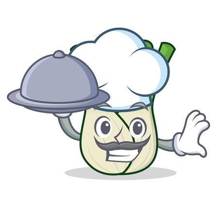 Chef with food fennel mascot cartoon style Ilustração