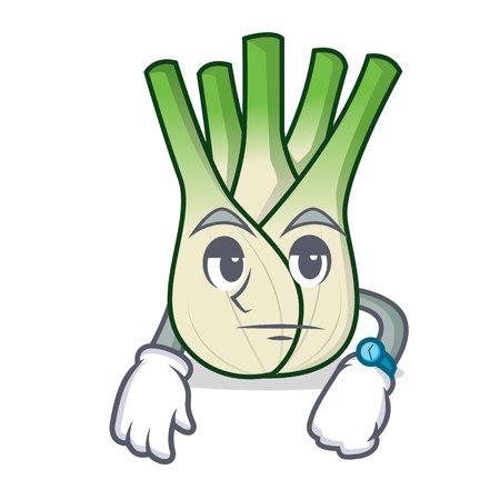 Waiting fennel mascot cartoon style