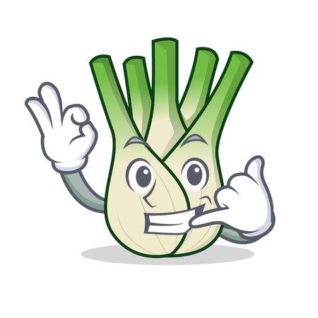 Call me fennel mascot cartoon style