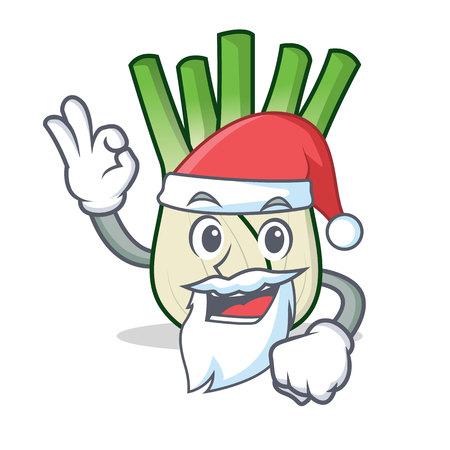 Santa fennel mascot cartoon style vector illustration