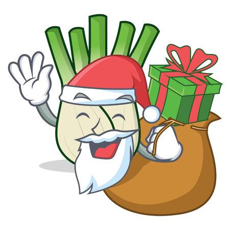 Santa with gift fennel mascot cartoon style vector illustration