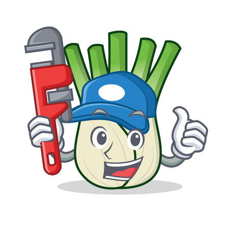 Plumber fennel mascot cartoon style vector illustration