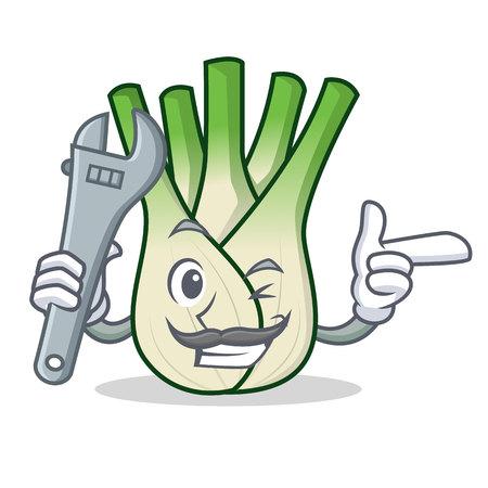 Mechanic fennel mascot cartoon style vector illustration