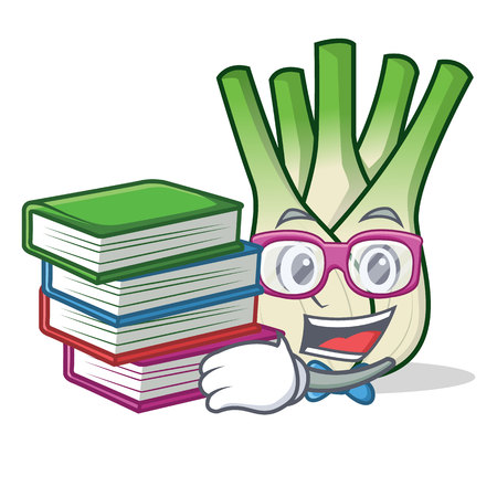 Student with book fennel mascot cartoon style