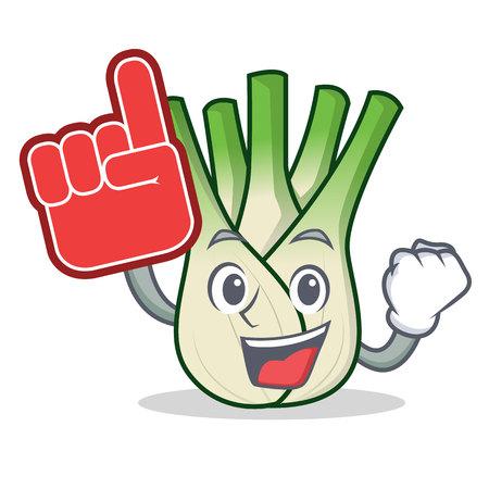 Foam finger fennel mascot cartoon style vector illustration Illustration