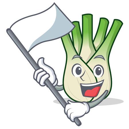 With flag fennel mascot cartoon style vector illustration Illustration