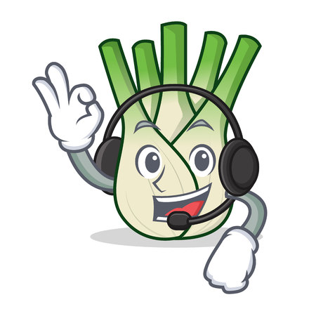 With headphone fennel mascot cartoon style vector illustration