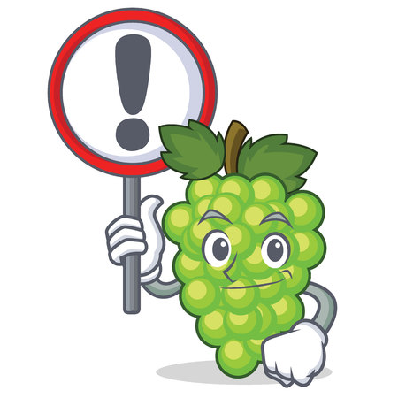 With sign green grapes character cartoon vector illustration