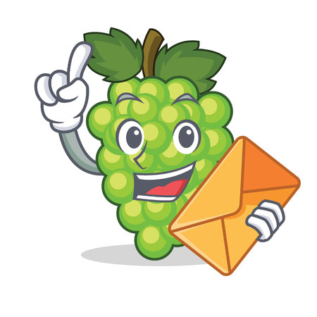 With envelope green grapes character cartoon vector illustration