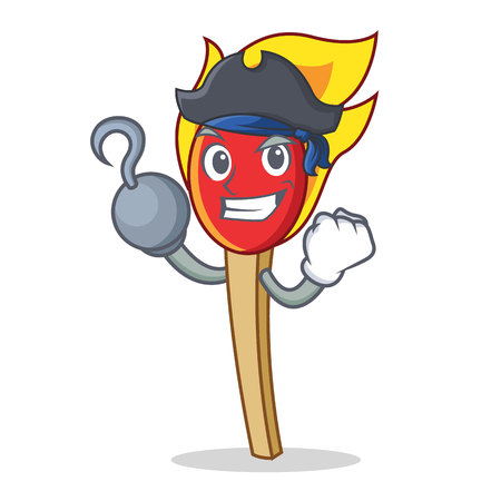 Pirate match stick character cartoon vector illustration