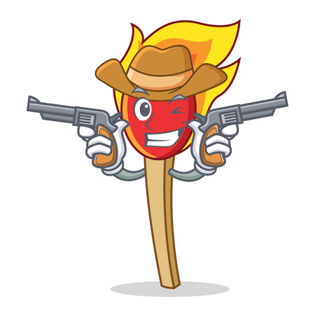 Cowboy match stick character cartoon vector illustration Illustration