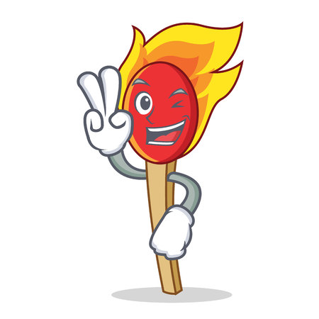 Two finger match stick character cartoon vector illustration