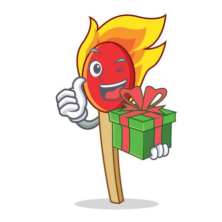 With gift match stick mascot cartoon