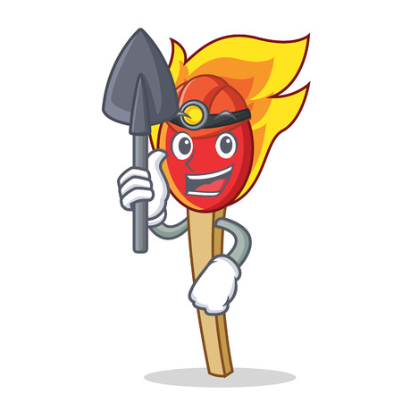 Miner match stick mascot cartoon