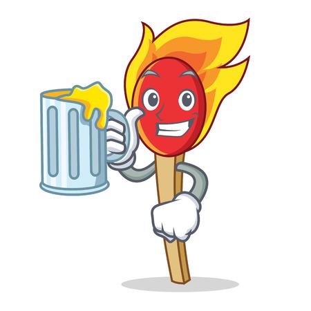 With juice match stick mascot cartoon vector illustration Illustration