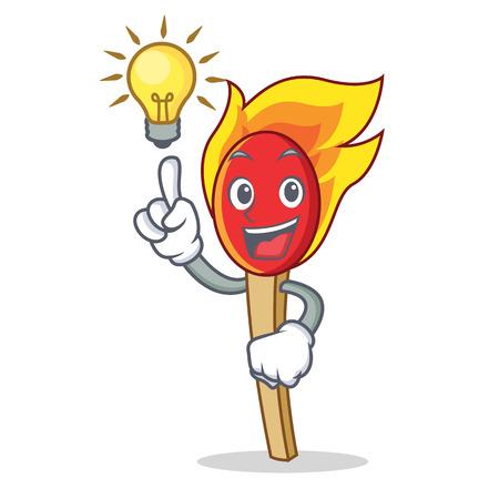 Have an idea match stick mascot cartoon vector illustration