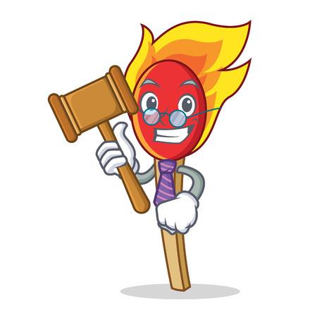 Judge match stick mascot cartoon vector illustration.