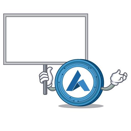 Bring board Ardor coin character cartoon vector illustration Illustration
