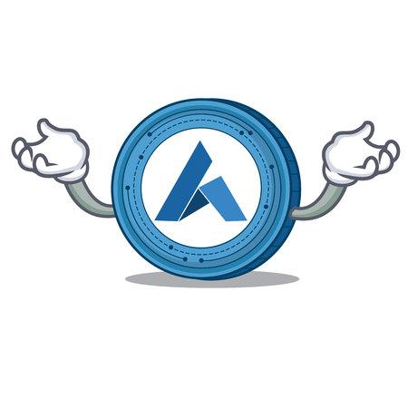 Hand up Ardor coin character cartoon