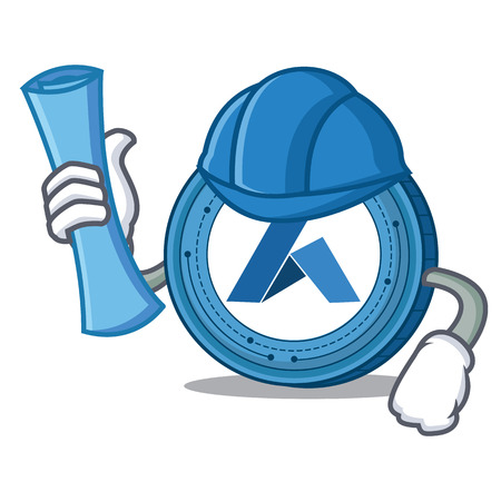 Architect Ardor coin character cartoon Illustration