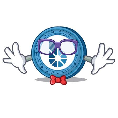 Geek BitShares coin character cartoon Illustration