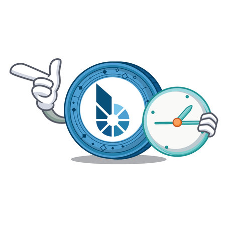 With clock BitShares coin character cartoon