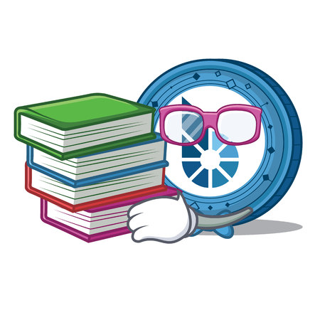 Student with book BitShares coin mascot cartoon