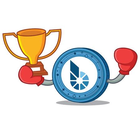 Boxing winner BitShares coin mascot cartoon