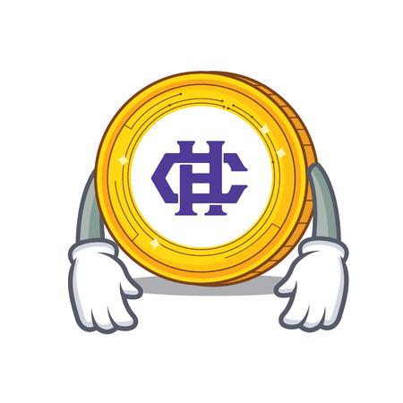 Tired Hshare coin mascot cartoon