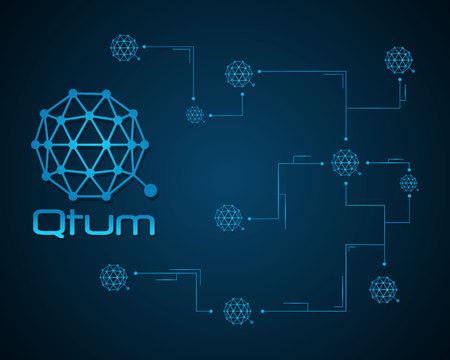 Qtum blockchain bitcoin background design