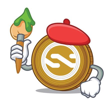 Artist Nxt coin character cartoon vector illustration