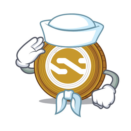 Sailor Nxt coin character cartoon vector illustration