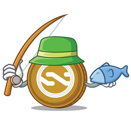 Fishing Nxt coin mascot cartoon vector illustration