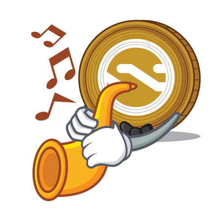 With trumpet Nxt coin mascot cartoon