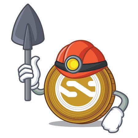Miner Nxt coin mascot cartoon vector illustration