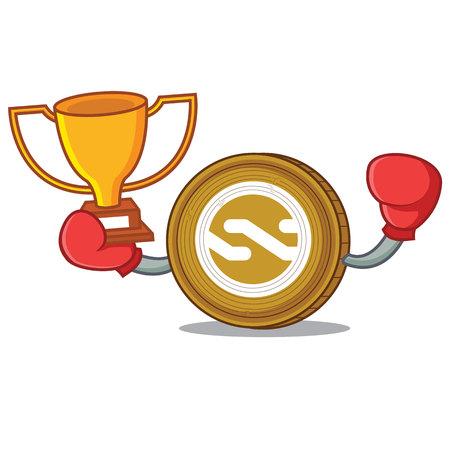 Boxing winner Nxt coin mascot cartoon