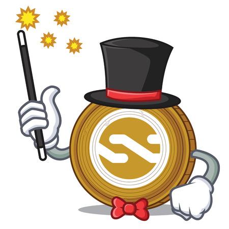 Magician Nxt coin mascot cartoon vector illustration.