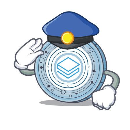 Illustrazione di vettore del fumetto del carattere della moneta di Police Stratic.