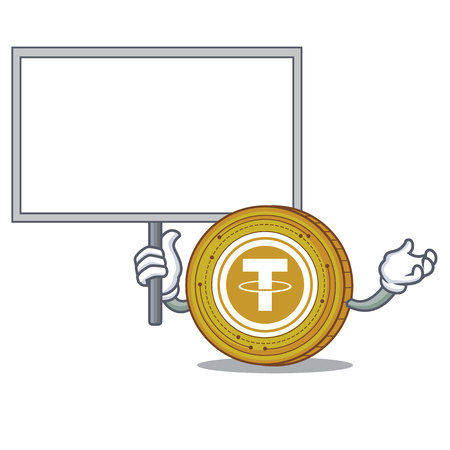Bring board Tether coin character cartoon Illustration