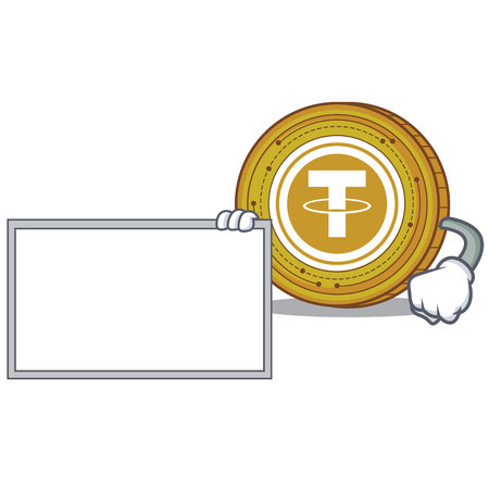 With board Tether coin character cartoon Illustration