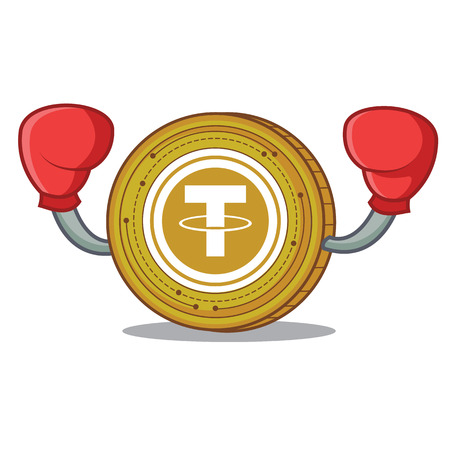 Boxing Tether coin character cartoon