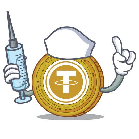 Nurse Tether coin character cartoon Illustration