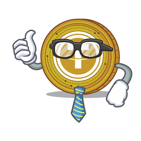 Businessman Tether coin character cartoon