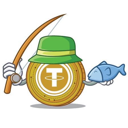 Fishing Tether coin mascot cartoon