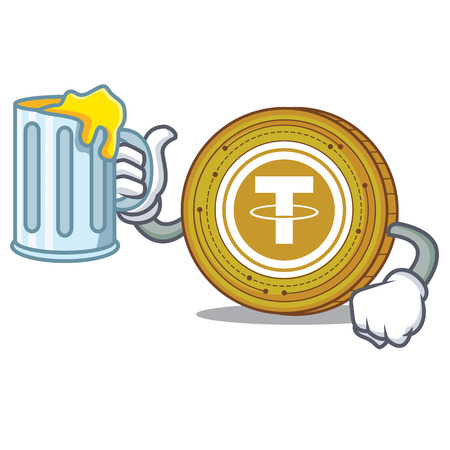 With juice Tether coin mascot cartoon vector illustration