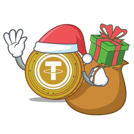 With gift Tether coin mascot cartoon