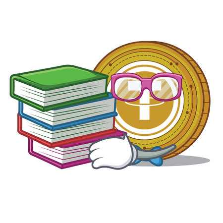 Student with book Tether coin mascot cartoon vector illustration