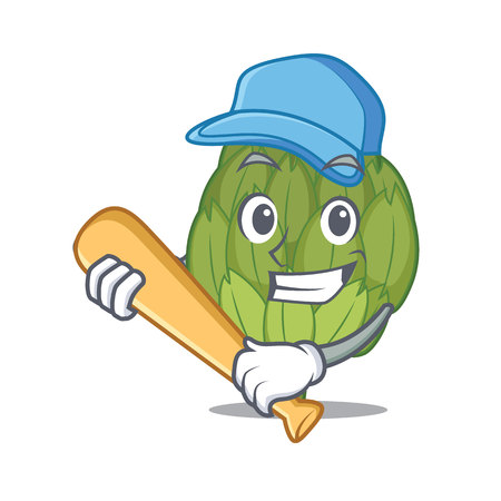 Playing baseball artichoke character cartoon style. Illustration